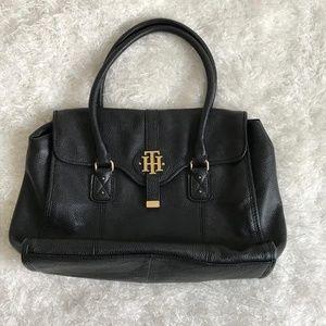Tommy Hilfiger Black Genuine Leather Shoulder Bag